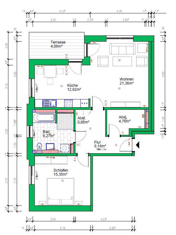 2-Raumwohnung, 77 m², EG mit Terrasse