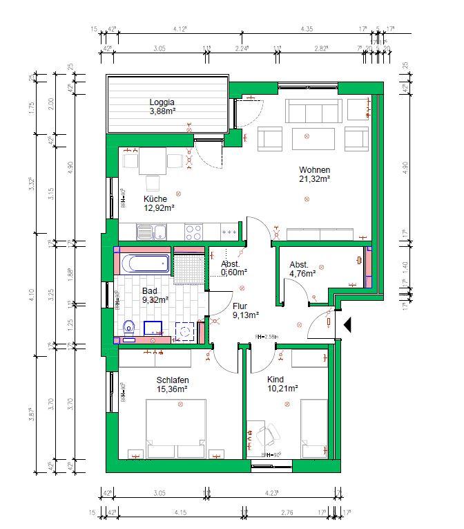 3-Raumwohnung, 87 m², 1.OG links