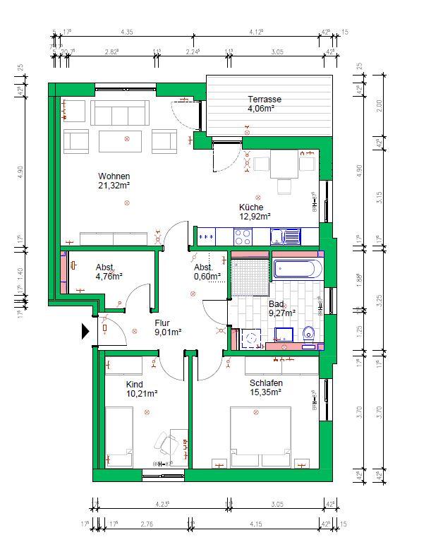3-Raumwohnung, 87 m², EG mit Terrasse