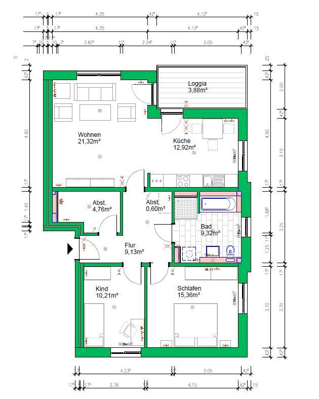 3-Raumwohnung, 87 m², 1.OG rechts