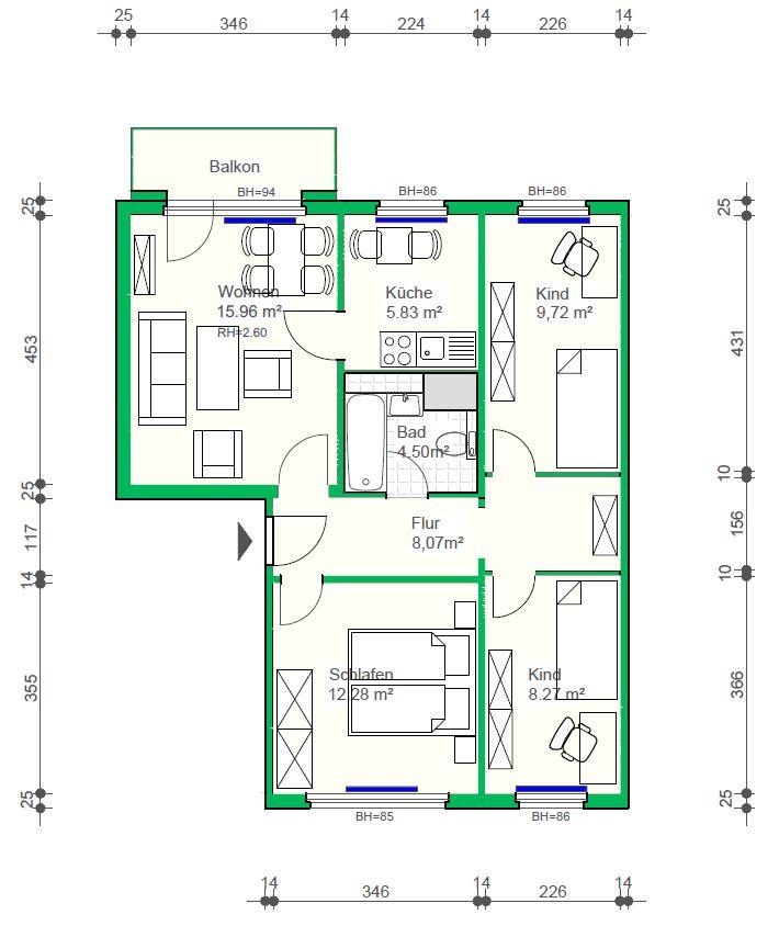 4-Raumwohnung mit Badewanne, 66 m²