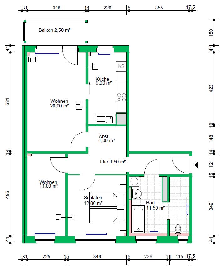 3-Raumwohnung, 78 m²