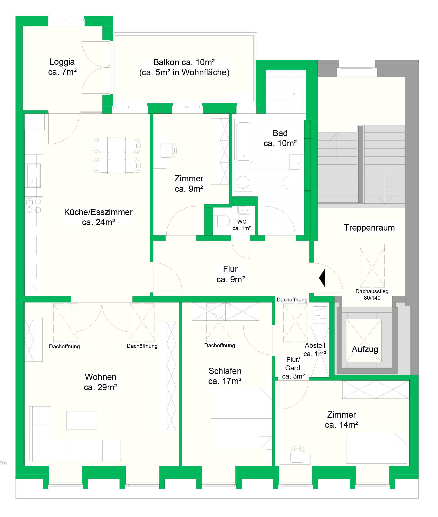 4-Raumwohnung, DG, 129 m²