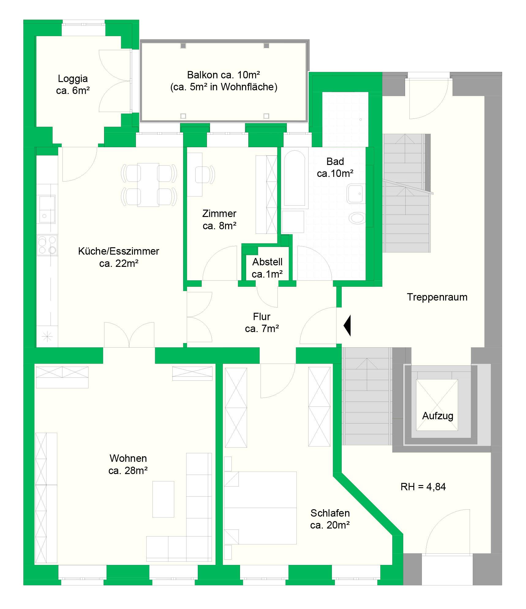 3-Raumwohnung, EG, 107 m²