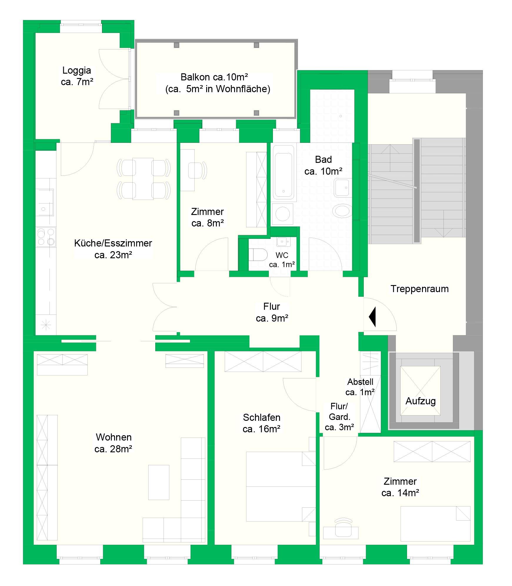 4-Raumwohnung, 1. und 2.OG, 127 m²
