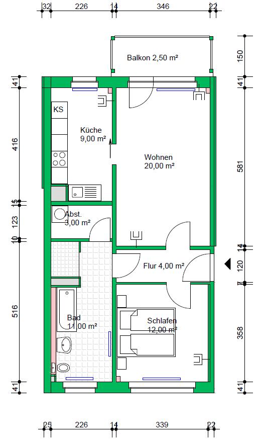 2-Raumwohnung, 61 m²