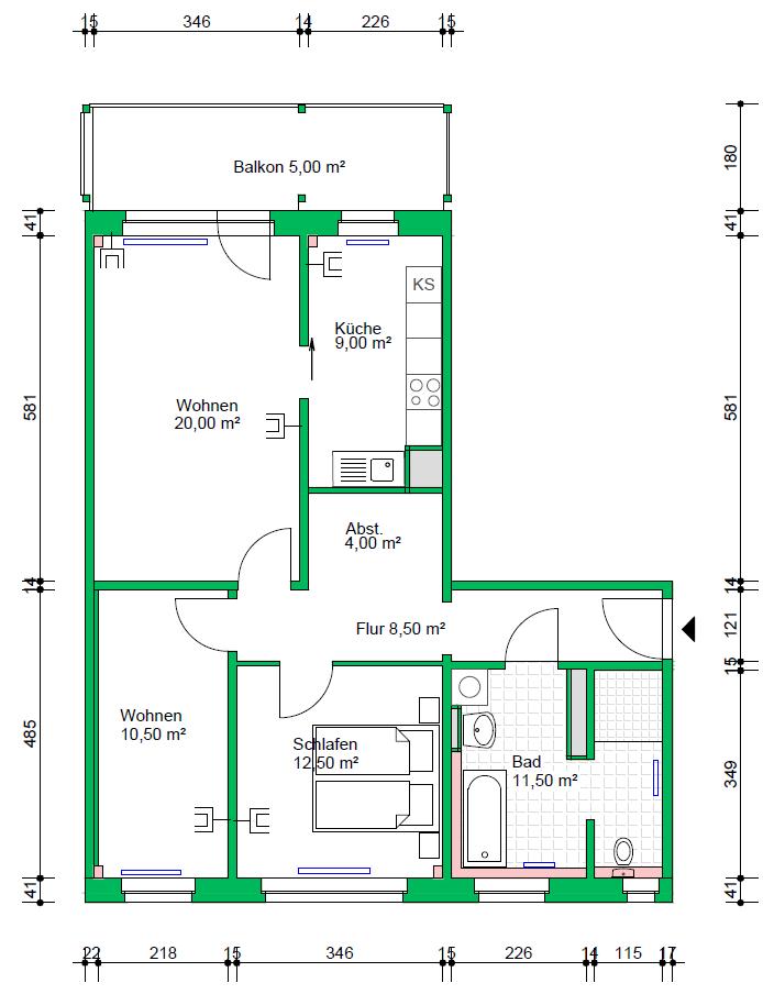 3-Raumwohnung, 81 m²
