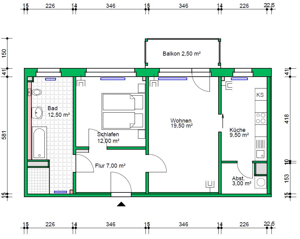 2-Raumwohnung, 66 m²