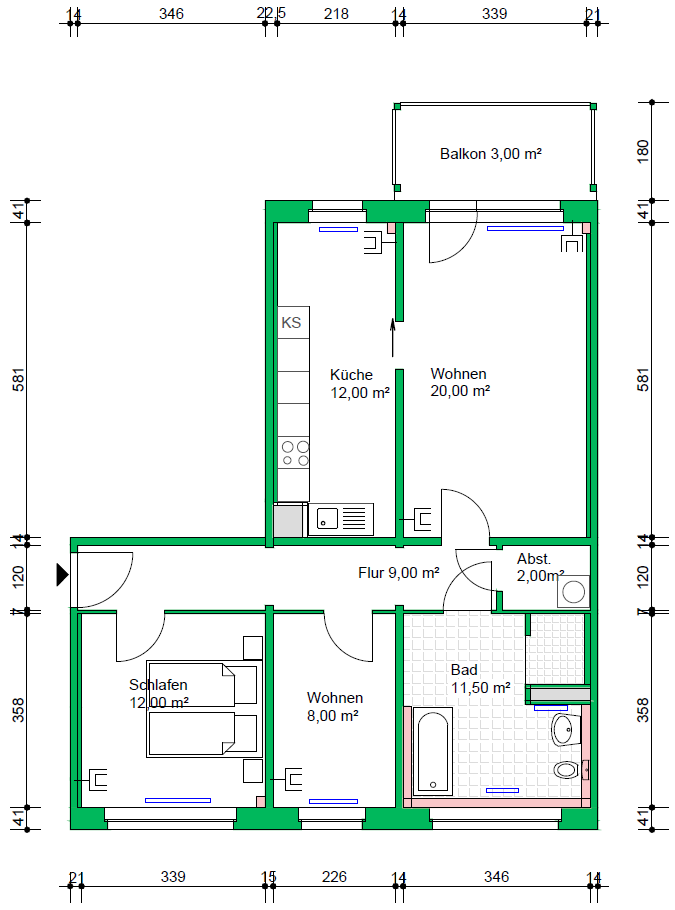 3-Raumwohnung, 77 m²