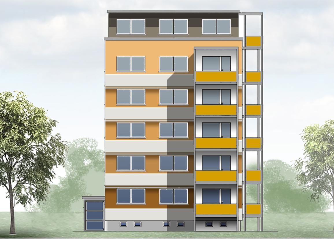 Geplante Fassadengestaltung - Ansicht Giebel Nr. 25
