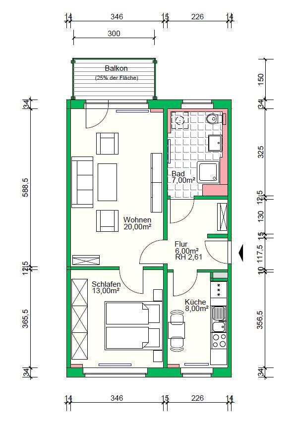 2-Raumwohnung mit Dusche, 56 m²