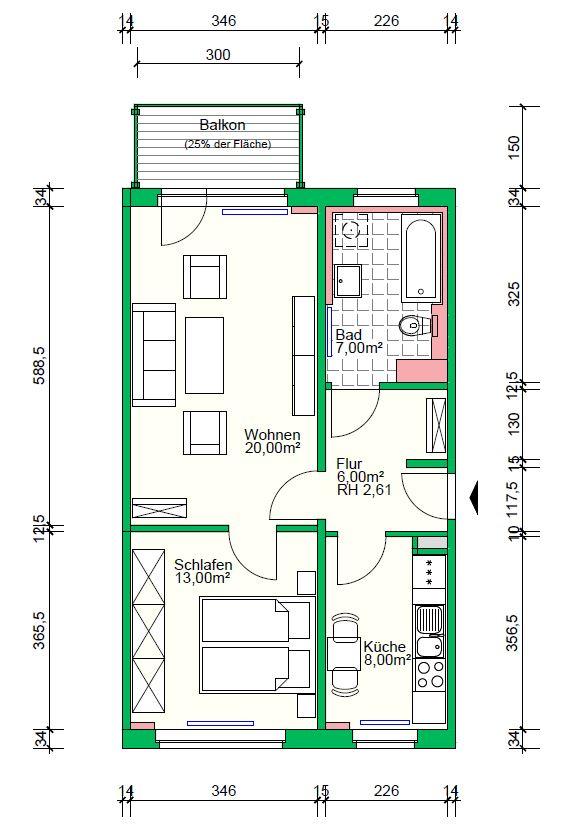 2-Raumwohnung mit Badewanne, 56 m²